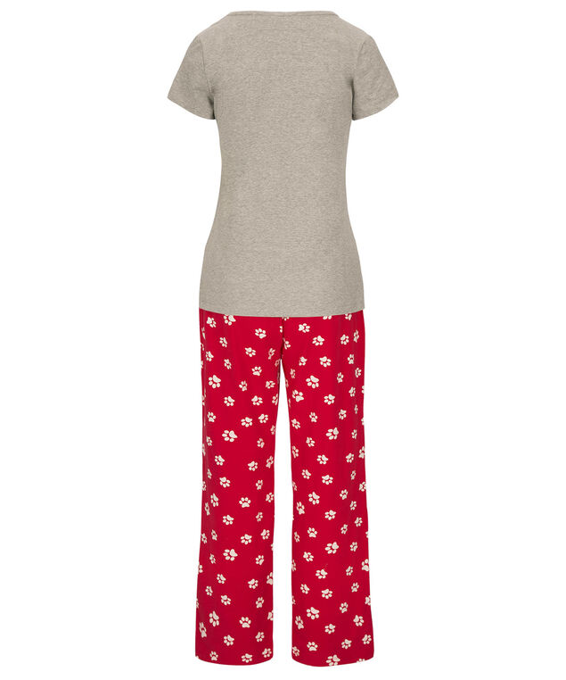 Cat Pajama Set, Red/Grey, hi-res