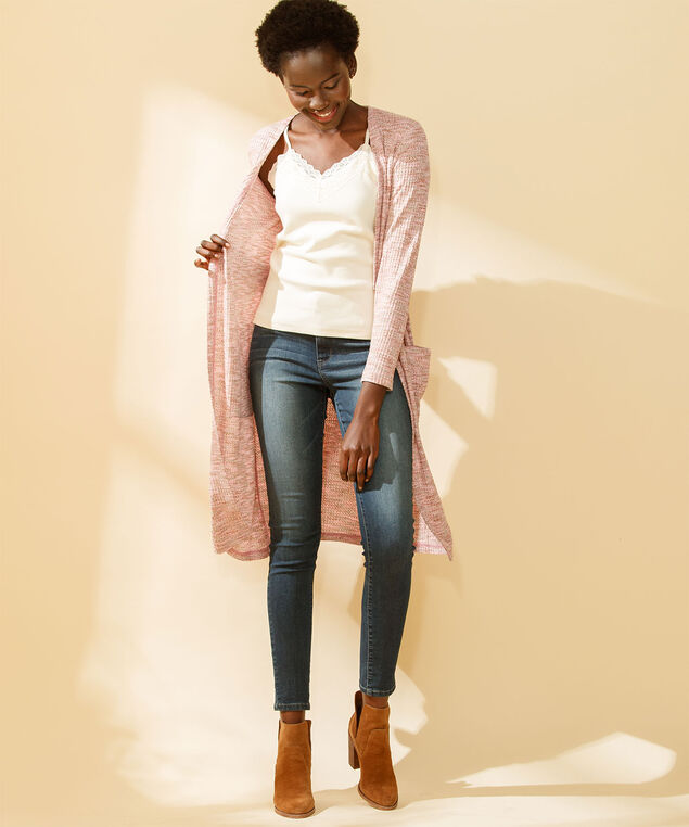 Waffle Knit Open Duster Cardigan, Peach Pink Mix