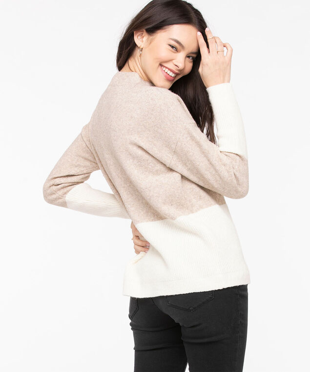 Eco-Friendly Colour Block Sweater, Heathered Camel/Pristine