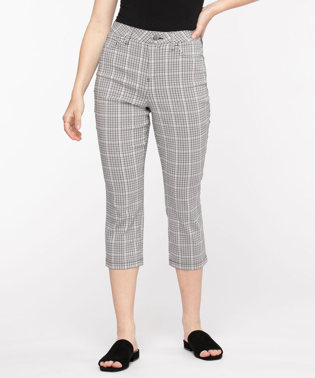 Microtwill Pull-On Crop Pant, Cool Neutral Plaid
