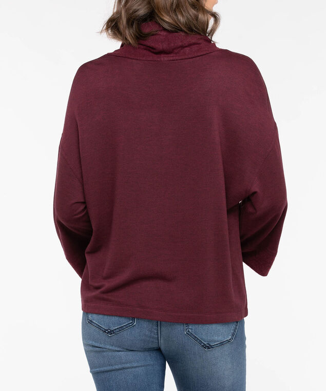 Wide Sleeve Funnel Neck Knit Top, Dark Rust, hi-res