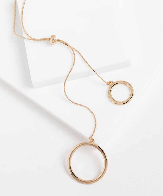 Long Double Circle Lariat Necklace, Gold, hi-res