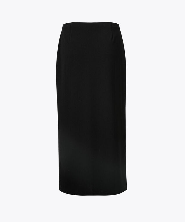 Scuba Front-Slit Midi Skirt, Black, hi-res