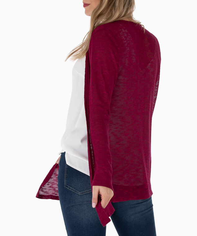 Open Stitch Slub Cardigan, Sangria, hi-res
