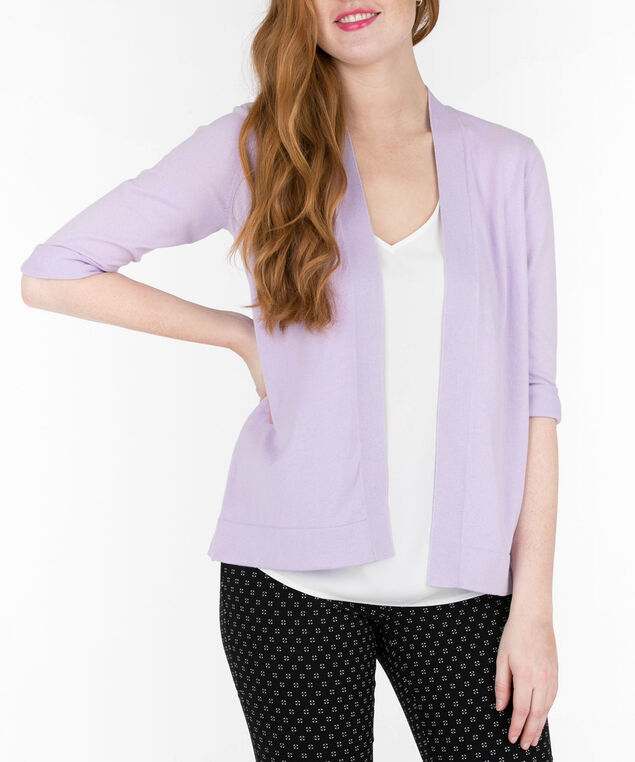 Cinch-Back Open Cardigan, Iced Violet, hi-res