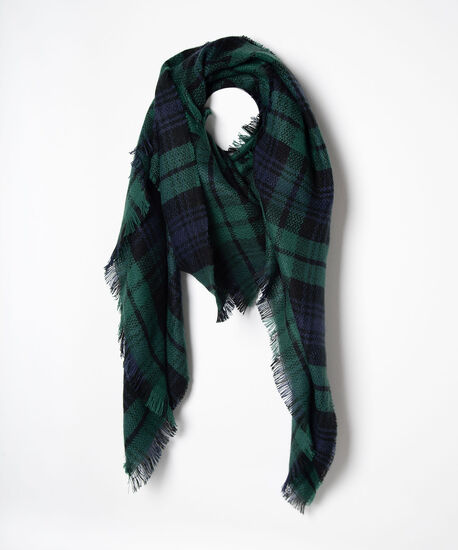 Blackwatch Plaid Blanket Scarf, True Navy/Deep Green/Black, hi-res