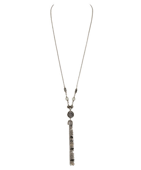 Beaded Tassel Pendant Necklace, Grey/Black/Rhodium, hi-res