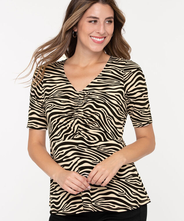 Animal Print Peplum Top, Black/Ivory, hi-res