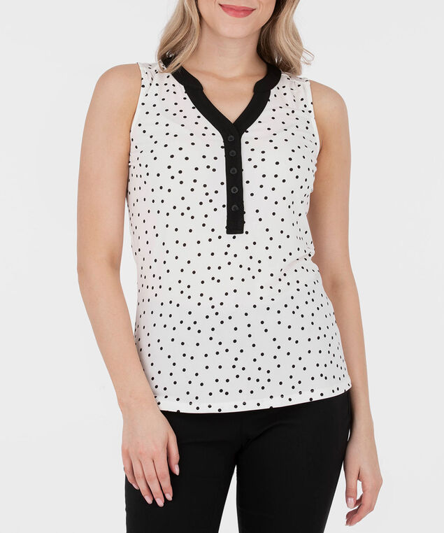 Sleeveless Button Front Henley Top, White/Black, hi-res