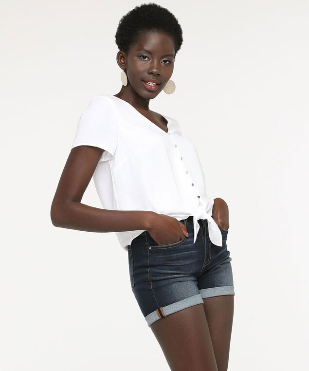 Short Sleeve Tie Front Blouse, True White, hi-res