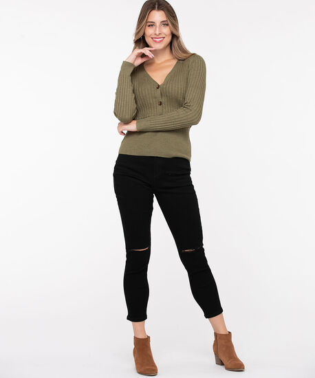 Ribbed Henley Pullover Sweater, Sage, hi-res
