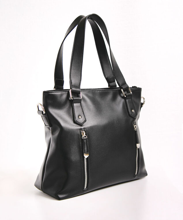 Double Zipper Front Satchel, Black, hi-res