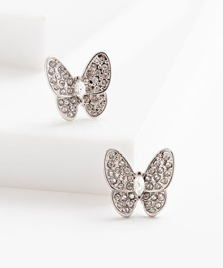 Butterfly Stud Earring, Rhodium, hi-res