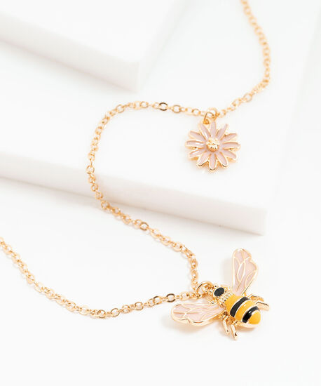 Small Chain Bumblebee Necklace, Gold, hi-res