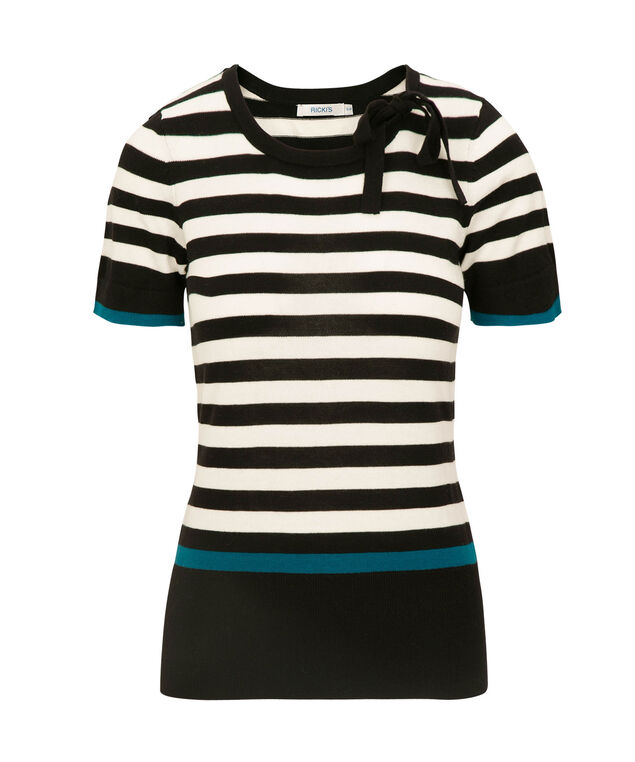 Tie-Neck Short Sleeve Pullover, Black/Pearl/Teal, hi-res