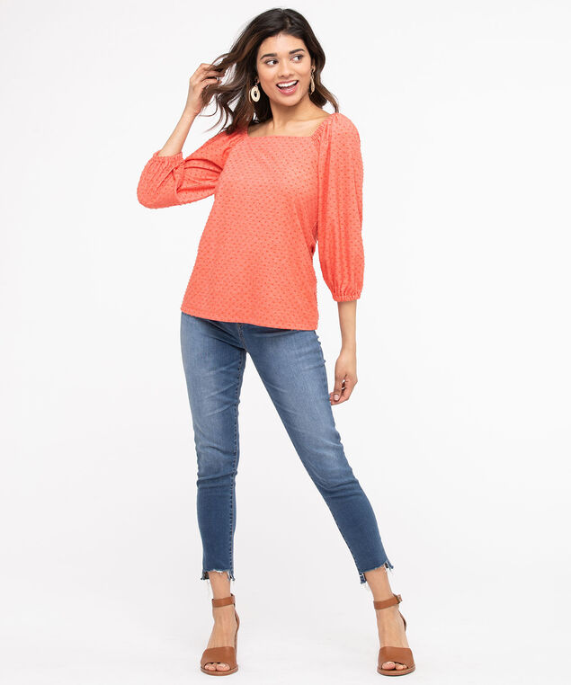Swiss Dot Square Neck Top, Orange, hi-res