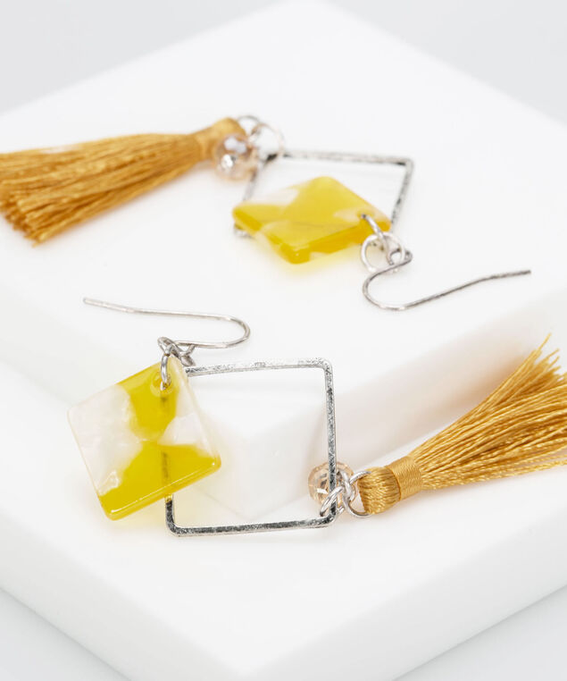 Resin Diamond & Tassel Earring, Mustard/Rhodium, hi-res