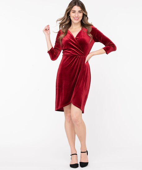Velvet Wrap Front Dress, Poppy Red, hi-res