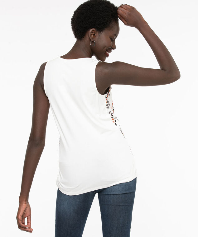 Geo Sleeveless Mixed Media Top, Ivory/Grey/Brown