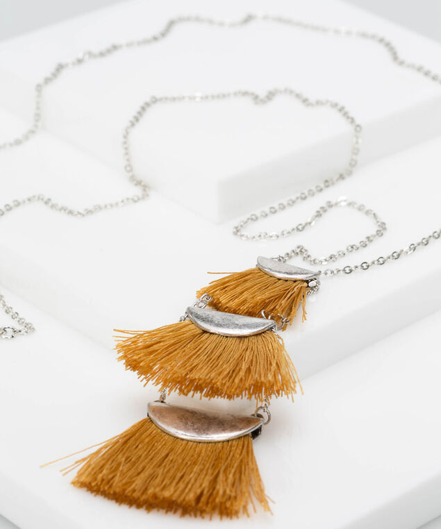 Tiered Tassel Trio Necklace, Rhodium/Mustard, hi-res