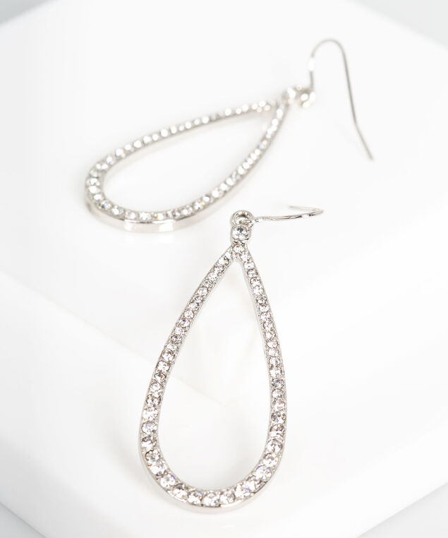 Crystal Teardrop Earring, Rhodium, hi-res