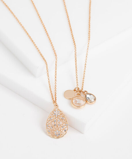 Layered Charm Necklace, Gold, hi-res