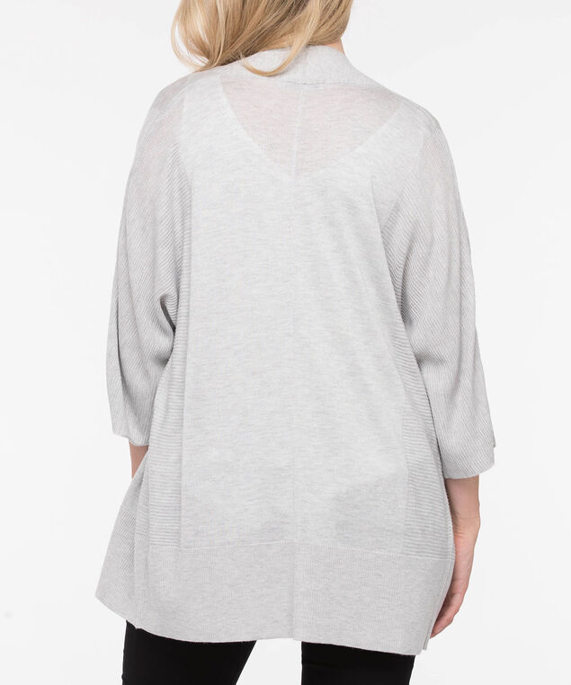 Ribbed Wide Sleeve Open Cardigan, Grey, hi-res