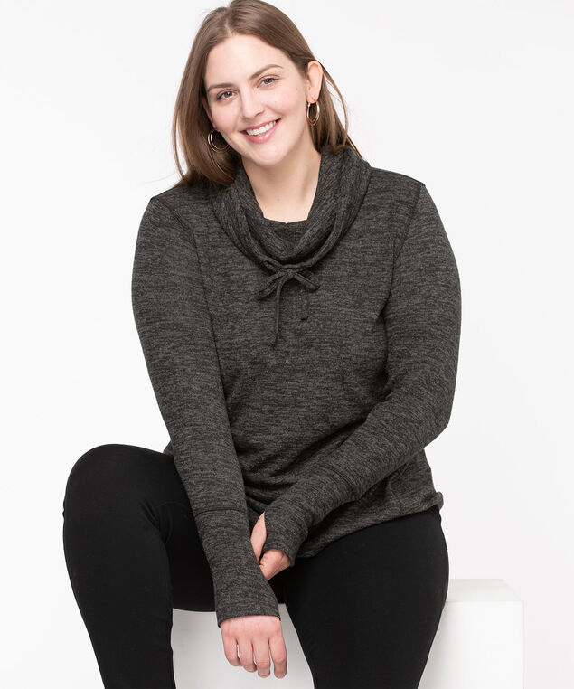 Cozy Cowl Neck Tunic Top, Charcoal Mix