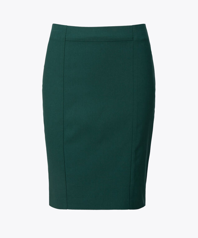 Microtwill Pull-On Pencil Skirt, Emerald, hi-res