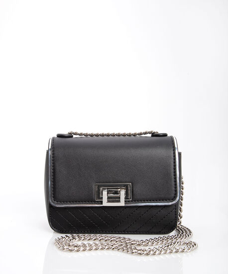 Quilted Crossbody Bag, Black/Rhodium, hi-res