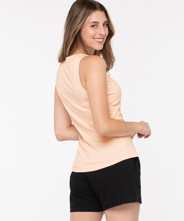 Sleeveless Ribbed Henley Top, Light Blush, hi-res