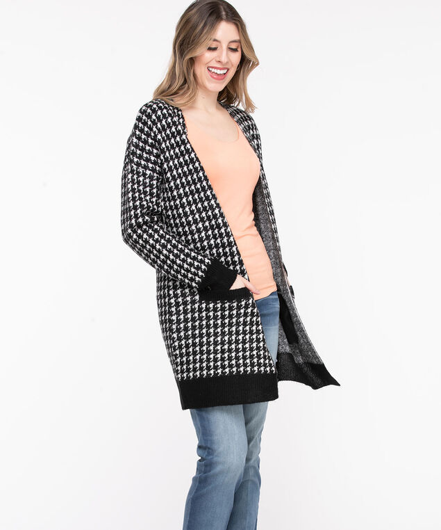 Houndstooth Long Open Cardigan, Black/Pearl