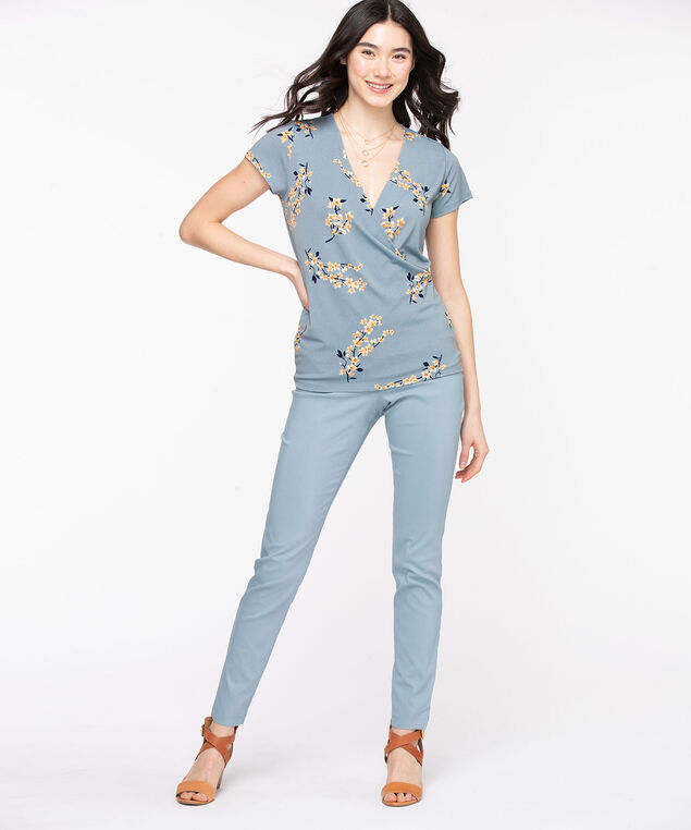 Short Sleeve Wrap Front Top, Dusty Blue Floral