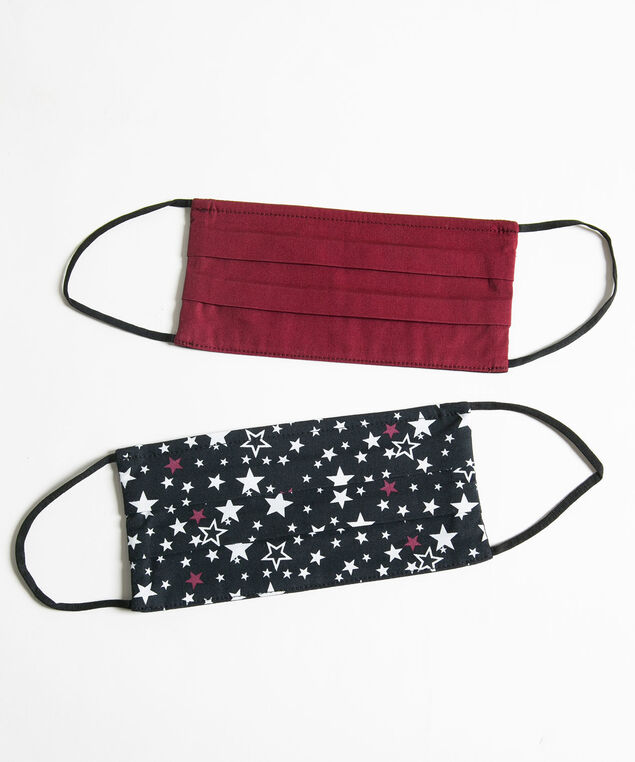 Printed Face Mask 2-Pack, Windsor Wine/Black Stars