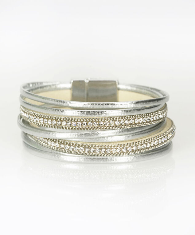 Crystal & Faux Leather Wrap Bracelet, Silver/Clear/Rhodium, hi-res