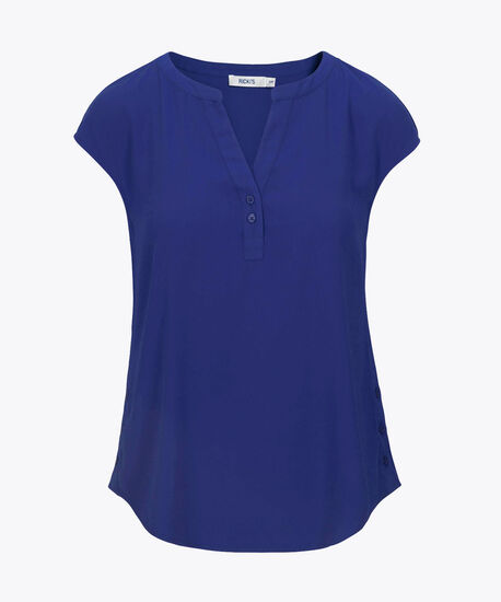 Stretch-Woven Henley Blouse, Ink Blue, hi-res