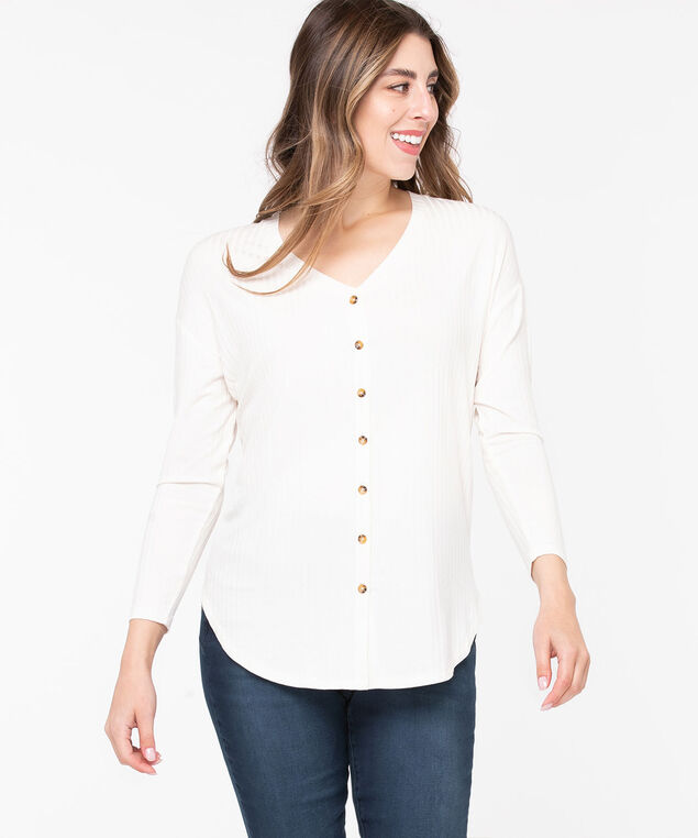 Ribbed Button Front Long Top, Pristine, hi-res