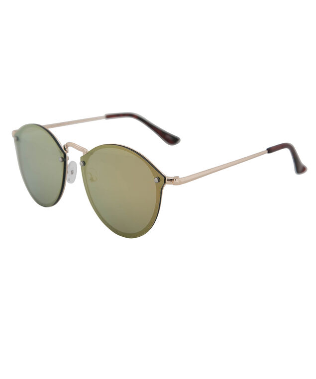 Round Mirrored Sunglasses, Pink/Gold, hi-res