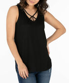Cut-Out Neckline Tank Top, Black, hi-res