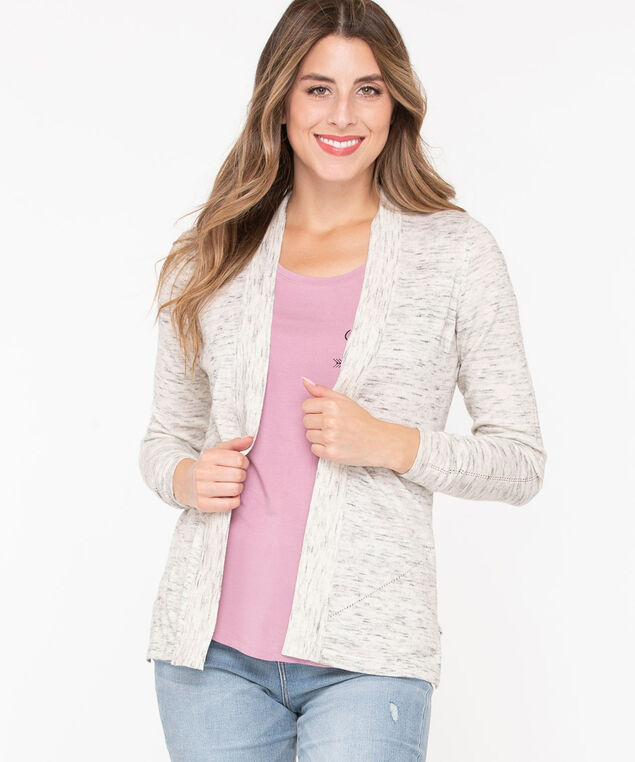Open Pointelle Stitch Cardigan, Oatmeal/Heather Grey, hi-res