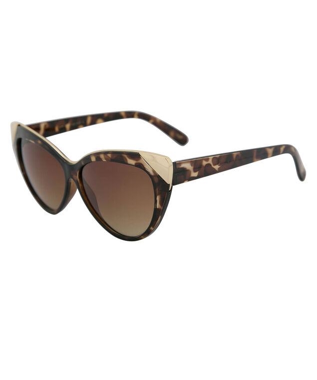 Tortoise Shell Cateye Sunglasses, Brown/Gold, hi-res