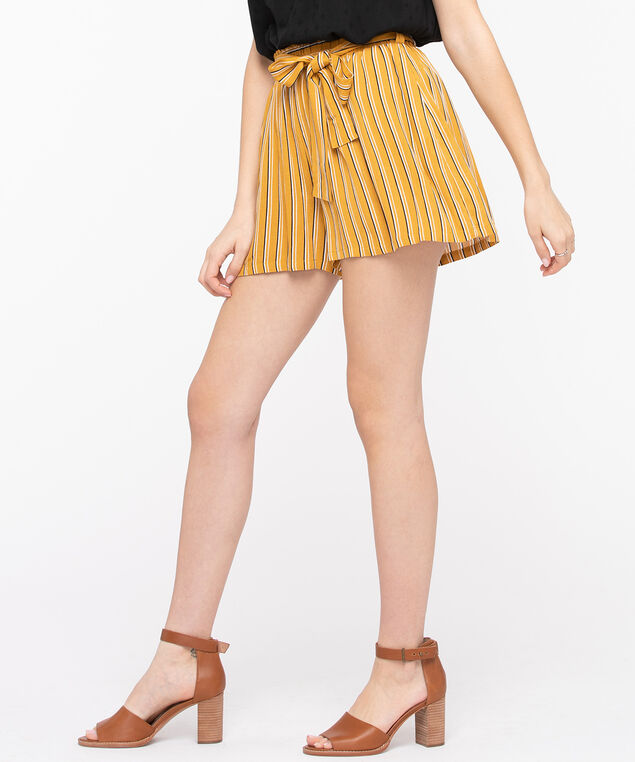 Striped Tie Waist Shorts, Mustard/Black/Pearl