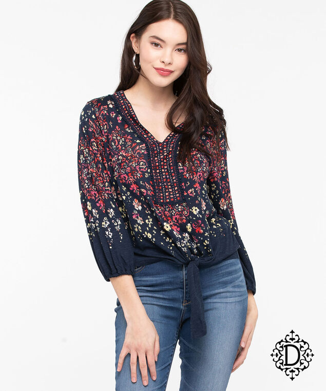 Democracy Crochet Trim Tie Waist Top, Summer Navy/Bellini/Peach, hi-res