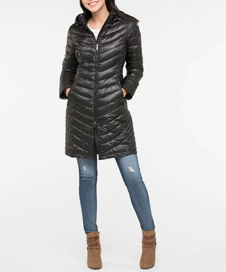 Chevron Packable Long Puffer Jacket, Black, hi-res