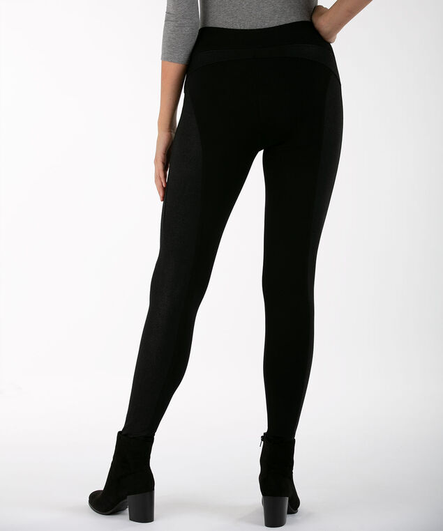 Luxe Ponte Textured Insert Legging, Black, hi-res