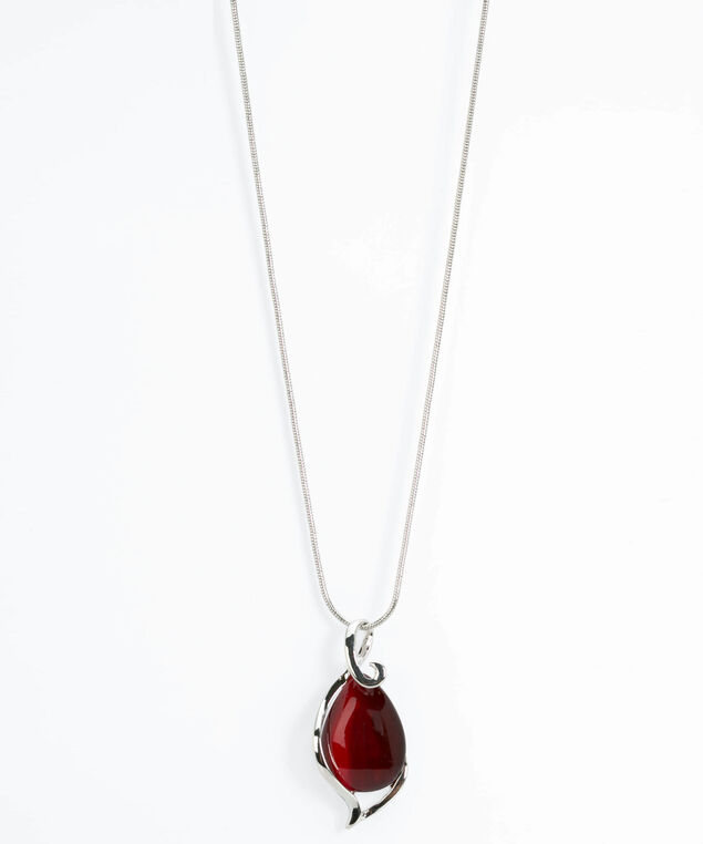 Swirl & Cateye Statement Necklace, Crimson/Rhodium, hi-res