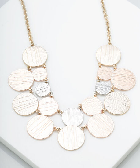 Mixed Metal Disc Statement Necklace, Gold/Silver, hi-res