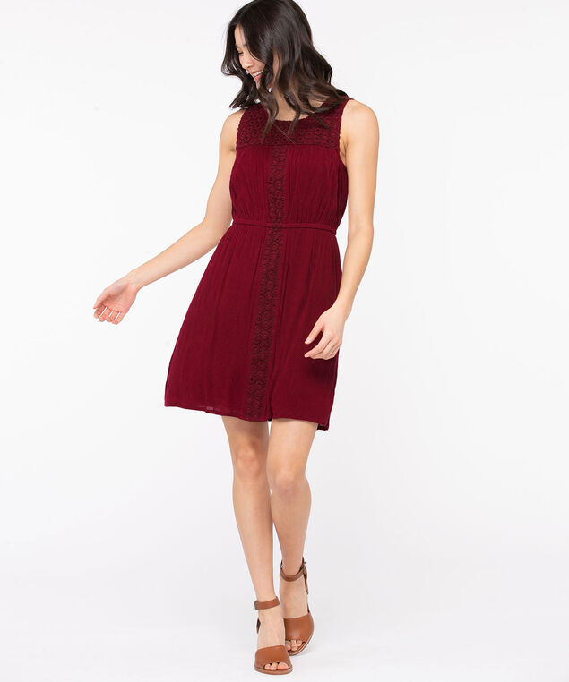 Sleeveless Crochet Trim Dress, Windsor Wine