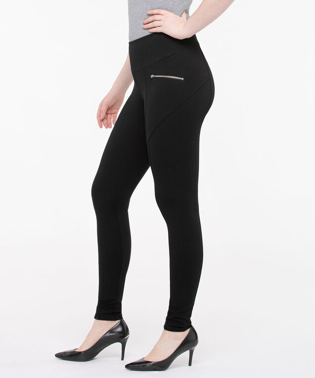 Luxe Ponte Seam Detail Leggings, Black, hi-res
