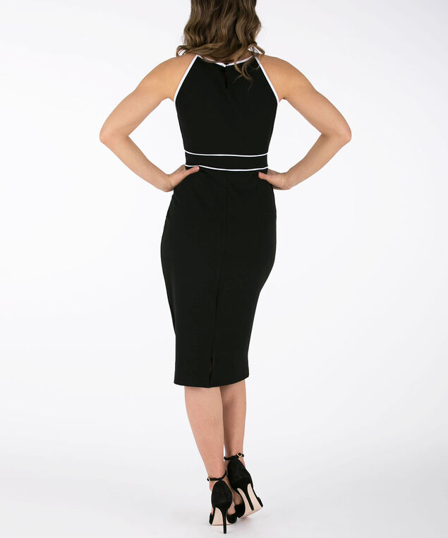 Halter-Style Scuba Sheath Dress, Black/White, hi-res